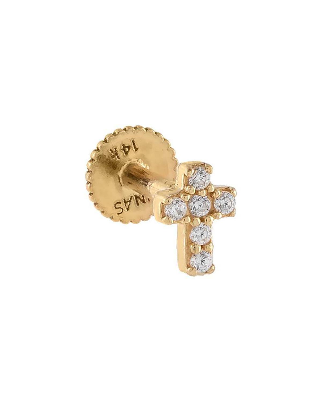 14k Yellow Gold Cross Single Stud Earring