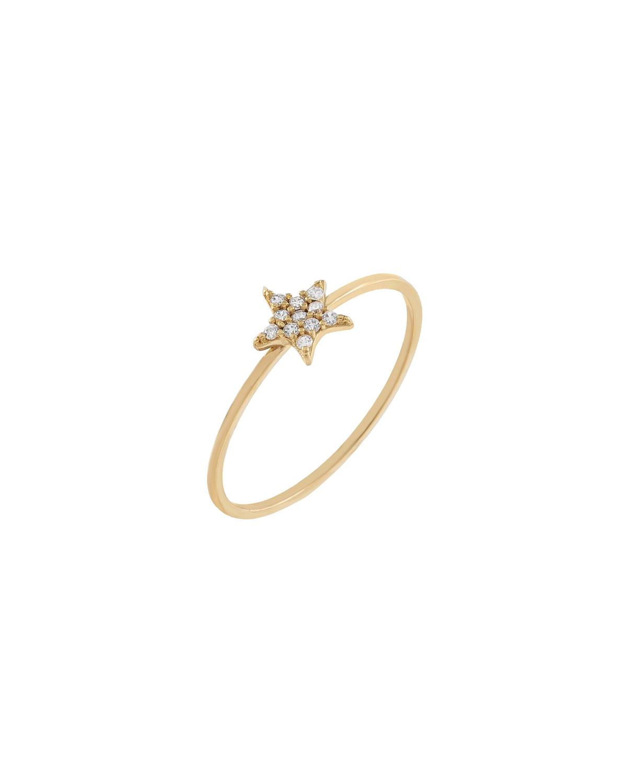 14k Yellow Gold Pave-Set CZ Star Ring