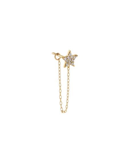ADINAS JEWELS 14k Yellow Gold Star Chain Single Stud Earring