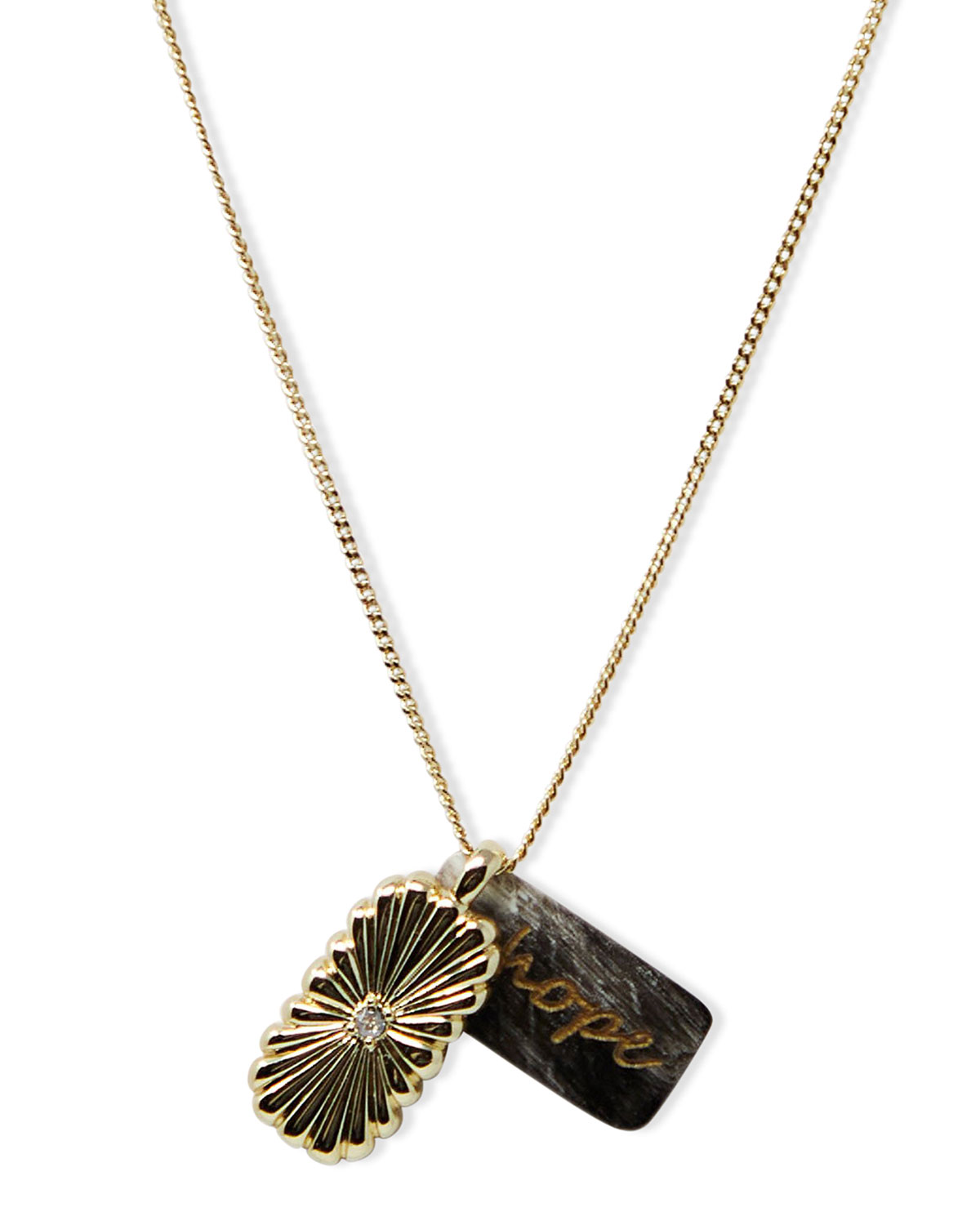 Hope Inspirational Chain Pendant Necklace with Horn in Black