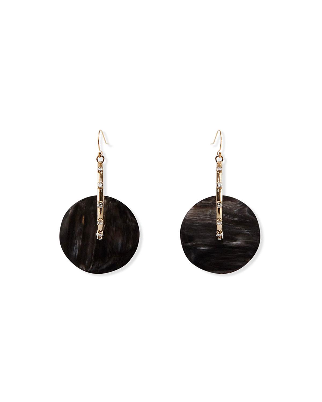 Agnes Black Horn Disc Earrings