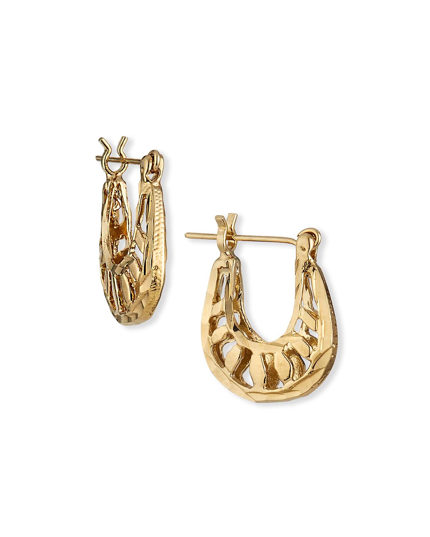 Small Gold Filigree Hoop Post Earrings