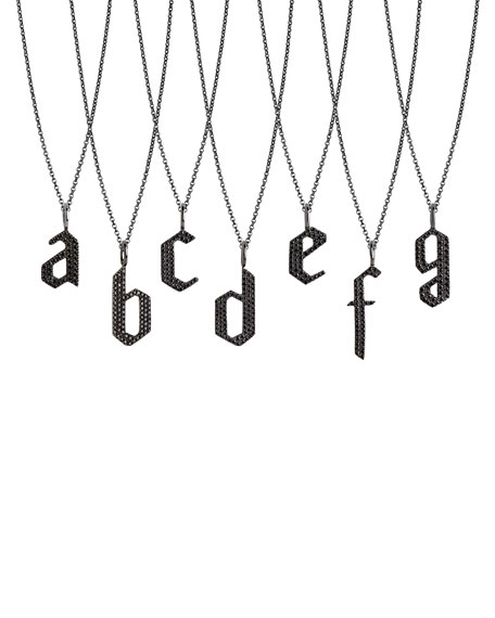 Bridget King Jewelry Black Diamond Alphabet Necklace