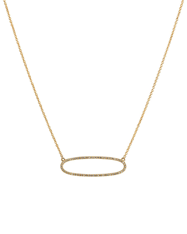 14k Reversible Diamond Oval Necklace
