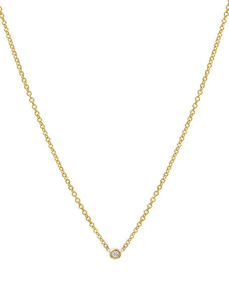 Zoe Lev Jewelry 14k Yellow Gold Mini Bezel Diamond Necklace