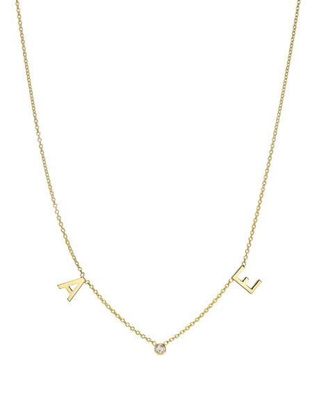 Zoe Lev Jewelry 14k Gold Initial and Bezel Diamond Necklace