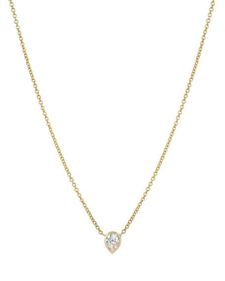 Zoe Lev Jewelry 14k Yellow Gold Pear Diamond Bezel Necklace