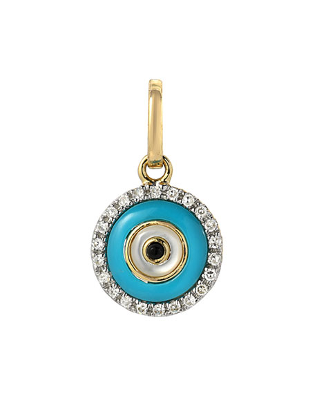 Zoe Lev Jewelry 14k Yellow Gold Diamond and Turquoise Evil Eye Pendant