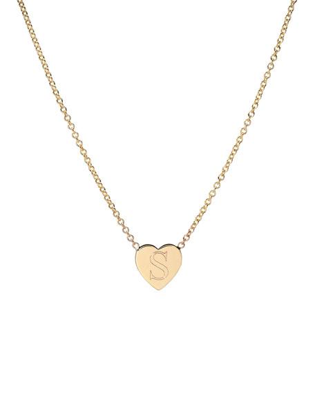 Zoe Lev Jewelry 14k Gold Initial Heart Necklace