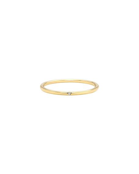 Zoe Lev Jewelry 14k Gold Thin Band Ring with Tiny Diamond, Size 7