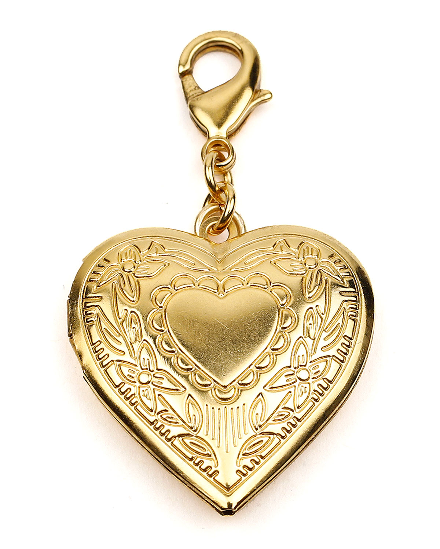 Heart Locket Charm w/ Floral Detail