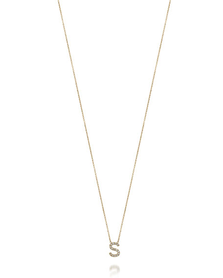 Sarah Chloe Amelia 14k Gold Initial Diamond Necklace