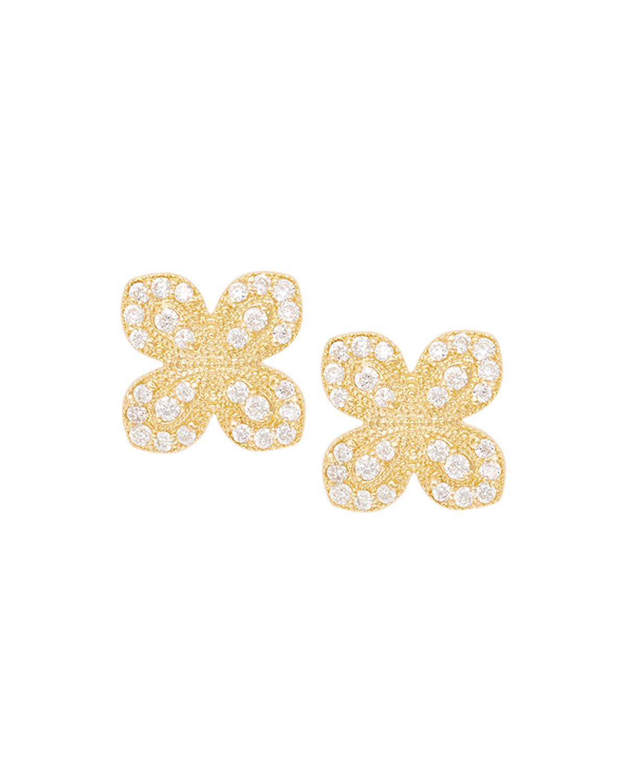 Scalloped Pave Diamond Flower Earrings