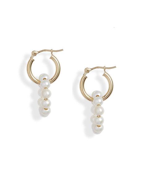 POPPY FINCH 14k Gold Mini Pearl Drop Hoop Earrings