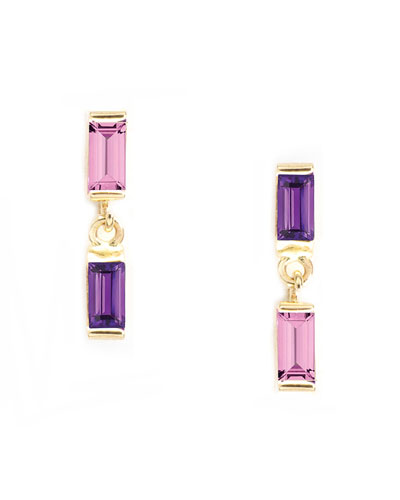 Maxi brass and amethyst earrings in gift box