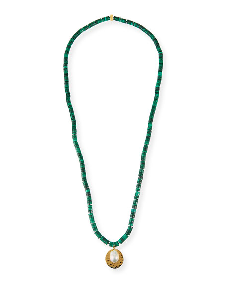 NEST Jewelry Malachite Long Beaded Disc Pendant Necklace