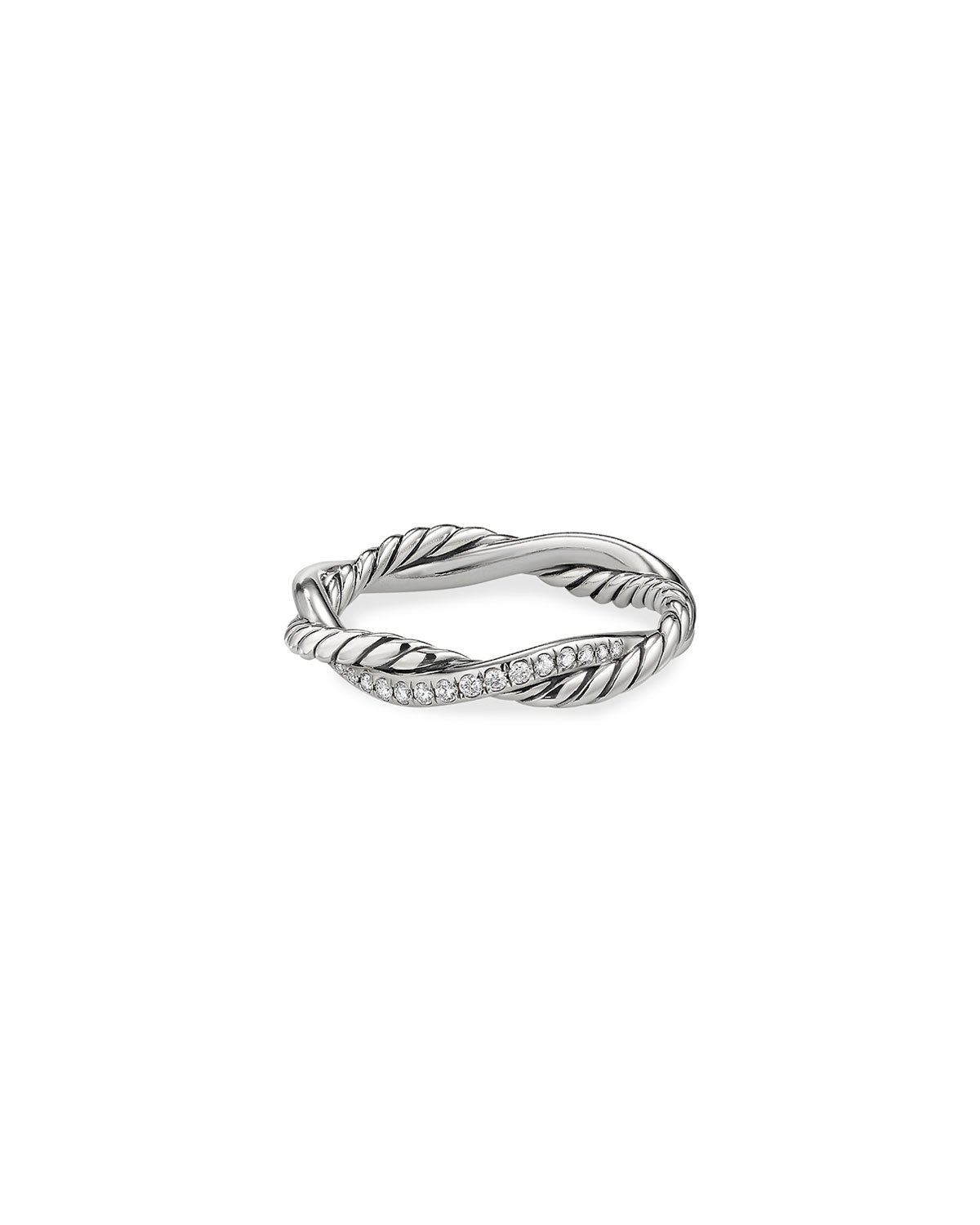 David Yurman PETITE INFINITY TWISTED RING WITH PAVE DIAMONDS