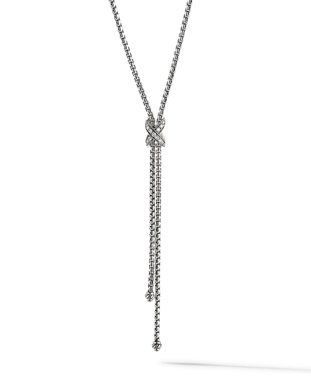 David Yurman Necklaces PETITE X LARIAT Y NECKLACE WITH PAVE DIAMONDS