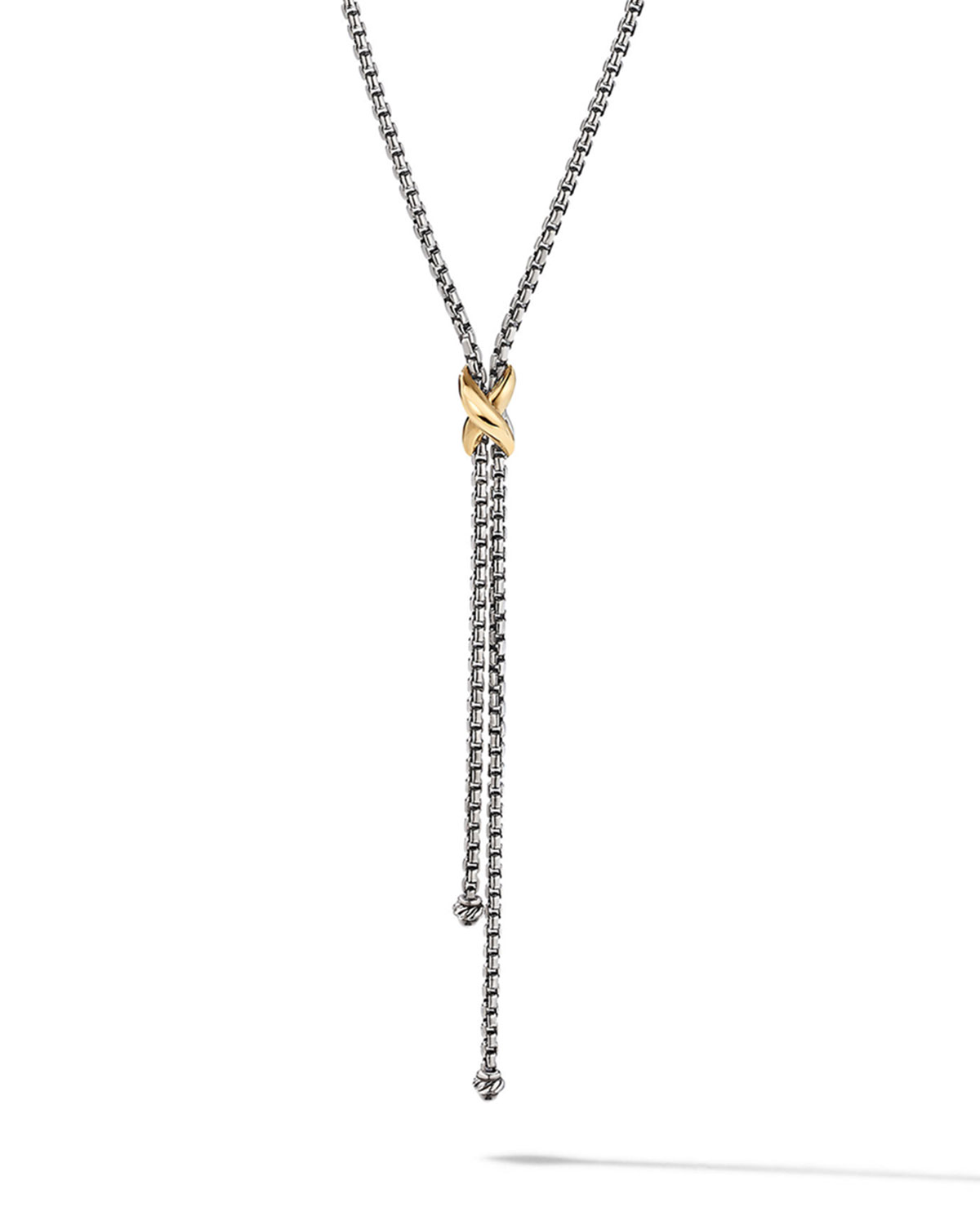 David Yurman Necklaces PETITE X LARIAT Y NECKLACE WITH 18K YELLOW GOLD