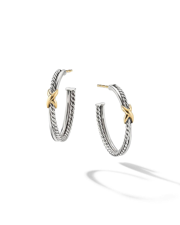 David Yurman Accessories PETITE X HOOP EARRINGS WITH 18K YELLOW GOLD