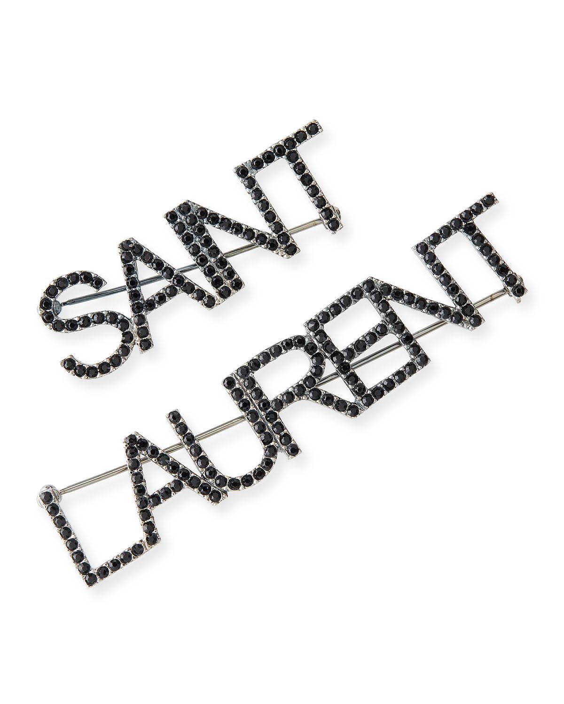 Crystal Logo Text Brooches