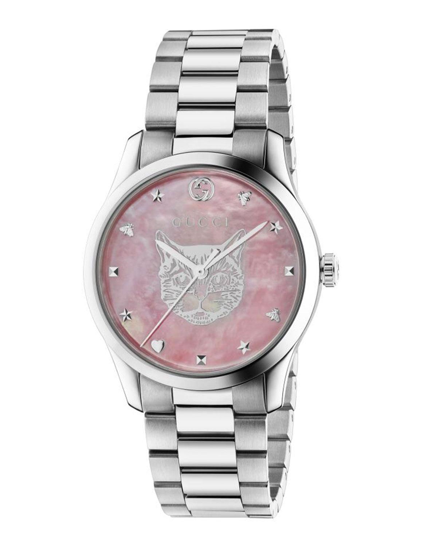 26mm G-Timeless Bracelet Watch w/ Feline Motif