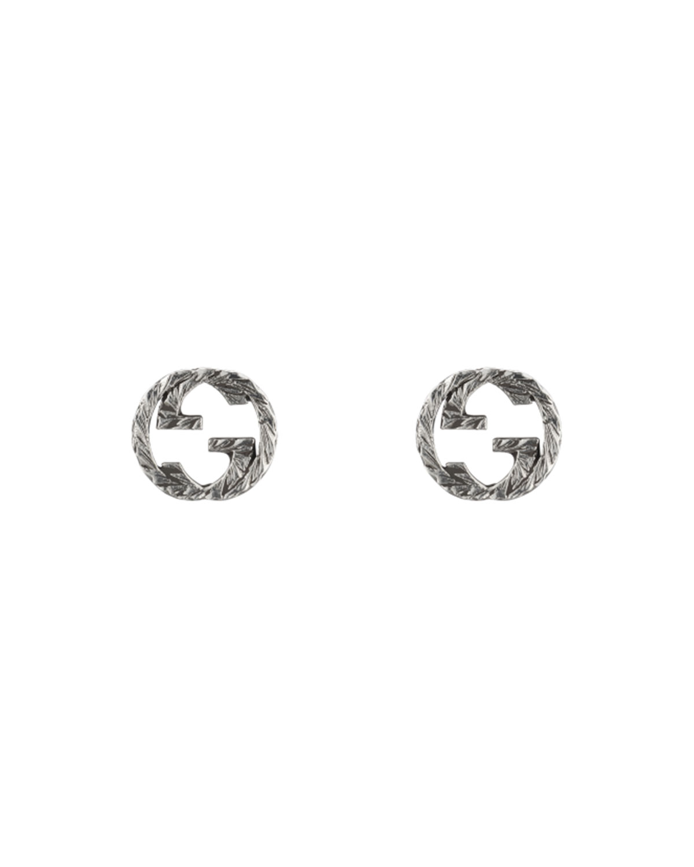 Interlocking G 10mm Stud Earrings in Aged Silver