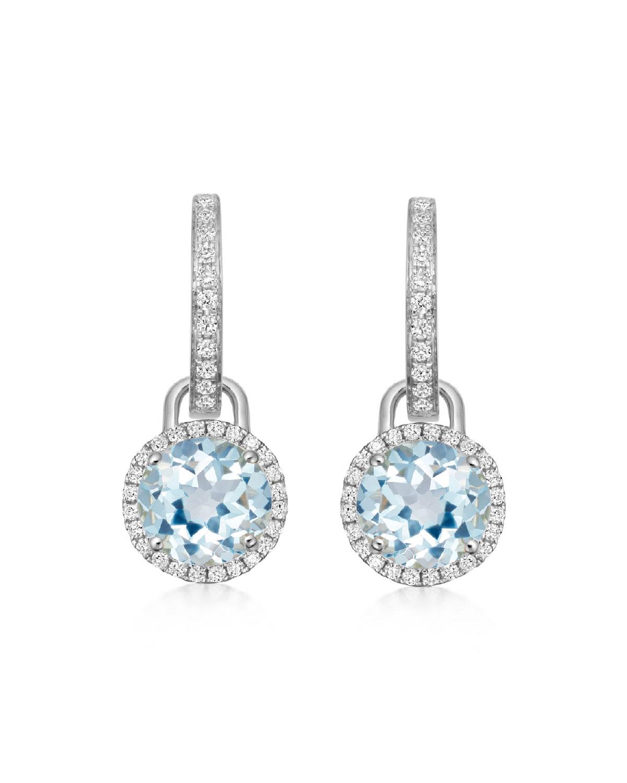 Grace 18k White Gold Mini Blue Topaz Diamond Drop Earrings