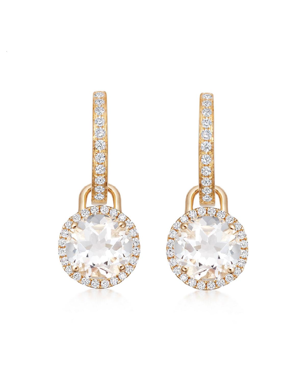 Grace 18k Gold Diamond White Topaz Mini Drop Earrings