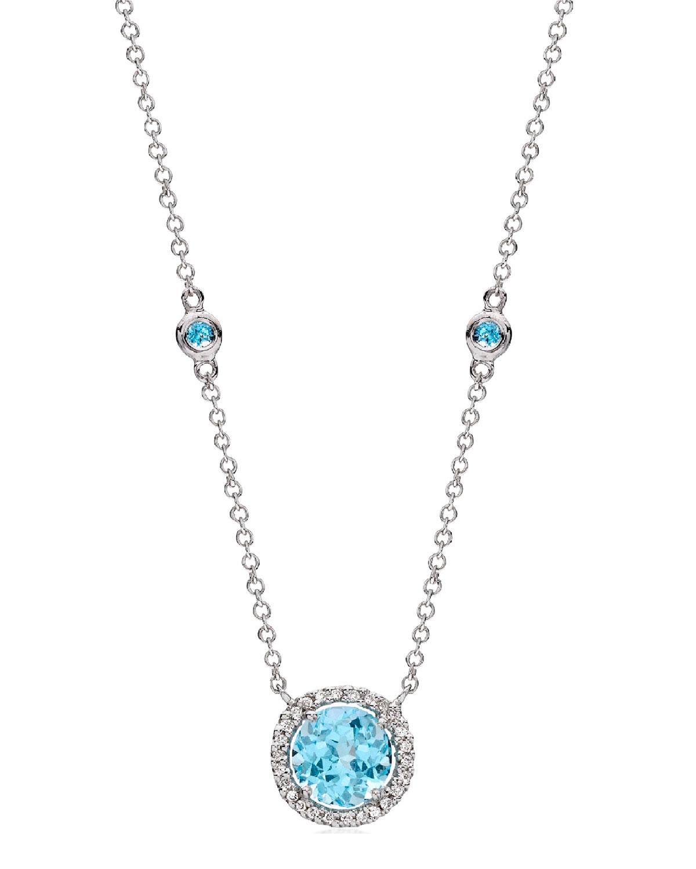 Grace 18k White Gold Blue Topaz Diamond Necklace