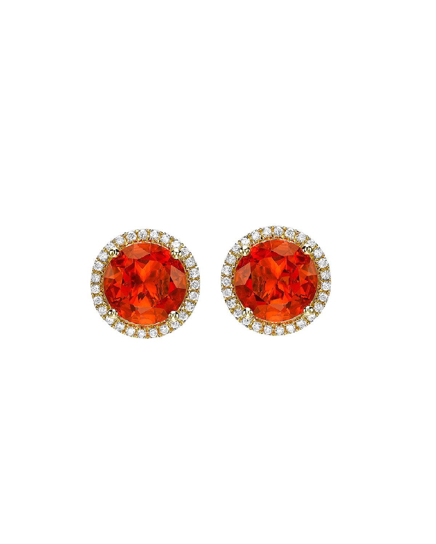 Grace 18k Round Fire Opal Diamond Stud Earrings