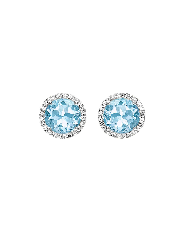 Grace 18k White Gold Blue Topaz Stud Earrings with Diamonds