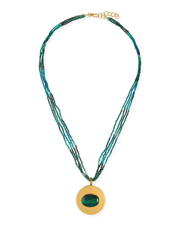 Azurtie Multi-Strand Necklace with Malachite Pendant