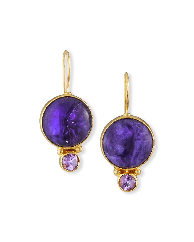 18k Gold Vermeil Amethyst & Charoite Earrings