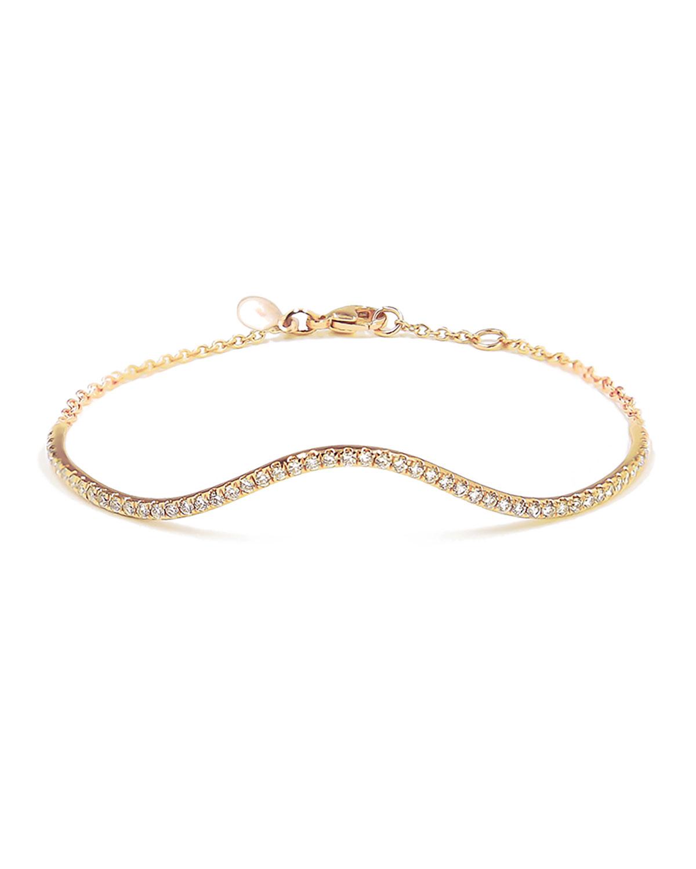 Wave 14k Gold Diamond Pave Bangle Bracelet