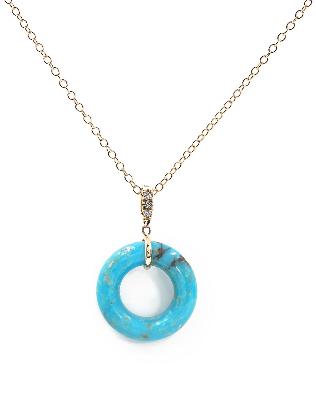 Turquoise Munchkin Diamond Pendant Necklace