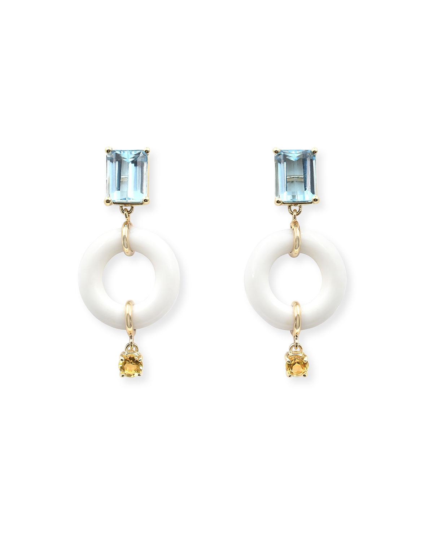 Emerald-Cut Powdered Munchkin Drop Earrings