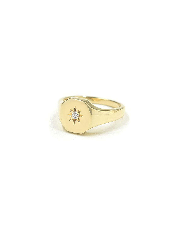 Josie Signet Pinky Ring with White Diamond