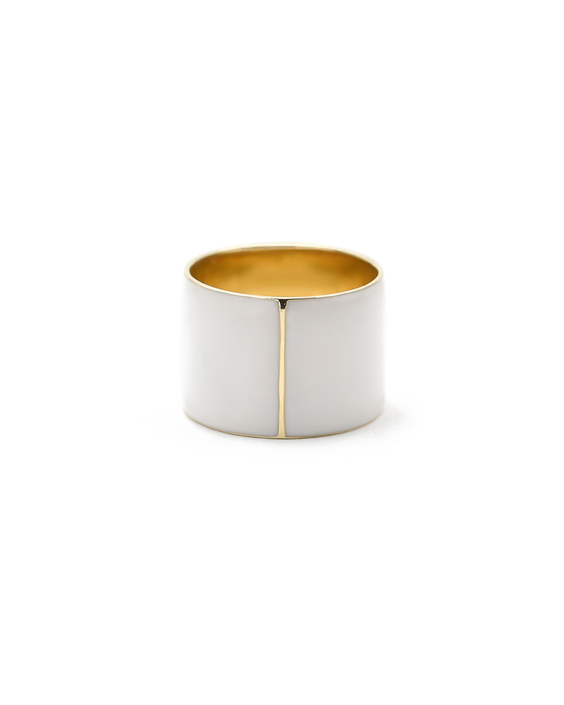 White Enamel Cigar Band Ring