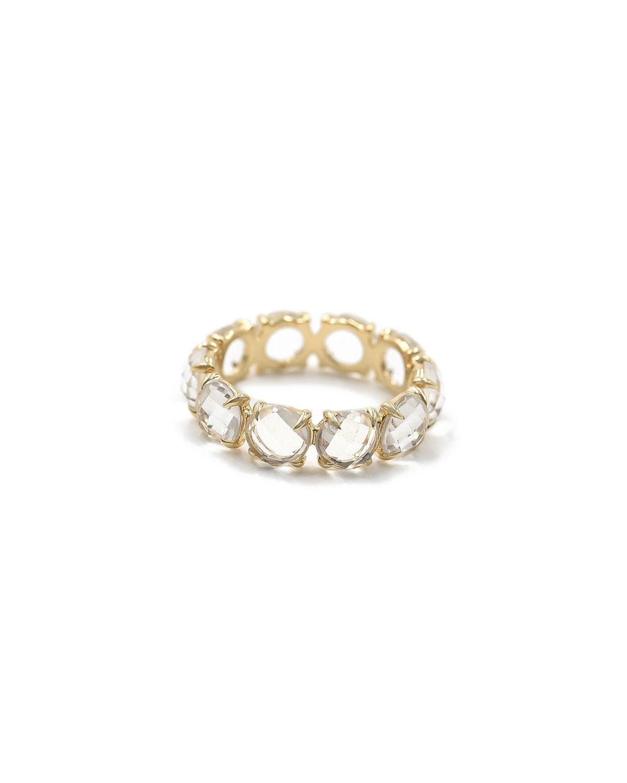 14k Rose Gold Rock Crystal Eternity Ring