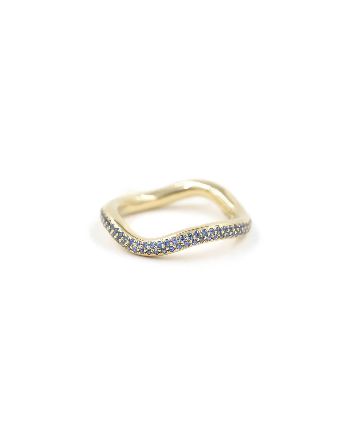 Popie Wave Ring with Pave Blue Sapphires