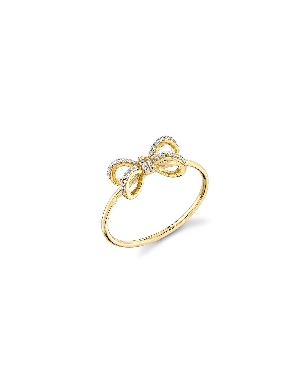 Sydney Evan 14K DIAMOND SMALL PAVE BOW RING