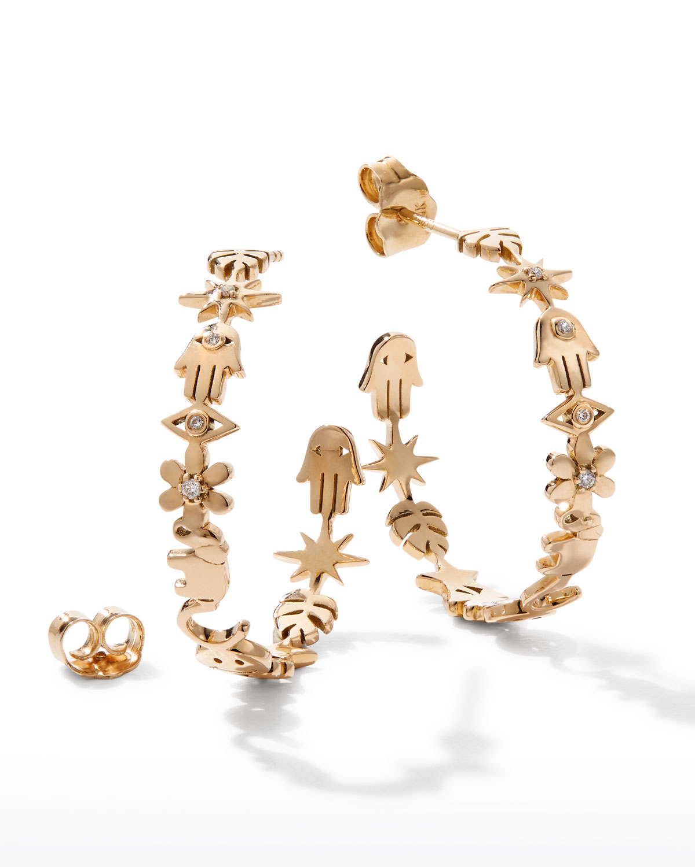 Sydney Evan 14K GOLD MEDIUM ICON HOOP EARRINGS WITH DIAMONDS