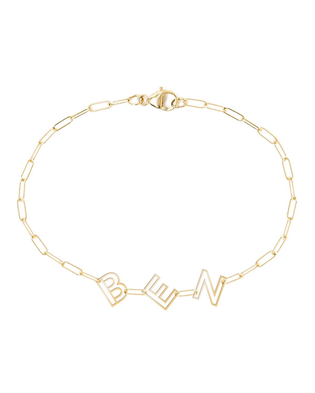 14k Yellow Gold Chain Letter Bracelet