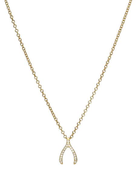Zoe Lev Jewelry Diamond Mini Wishbone Necklace