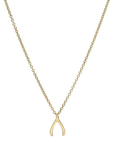 Zoe Lev Jewelry 14k Gold Mini Wishbone Necklace