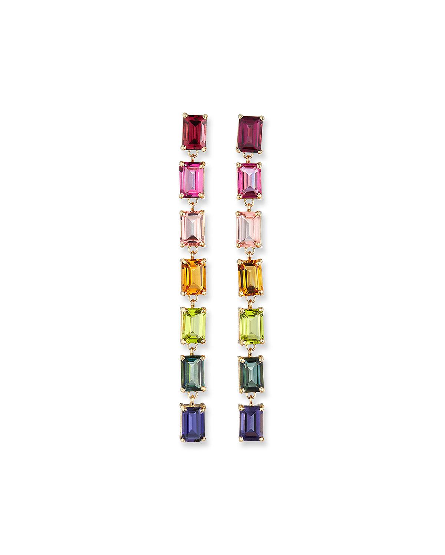 14K Yellow Gold Rainbow Emerald-Cut Dangle Earrings