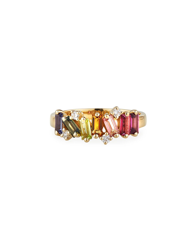 14K Yellow Gold Rainbow Ring w/ Diamonds
