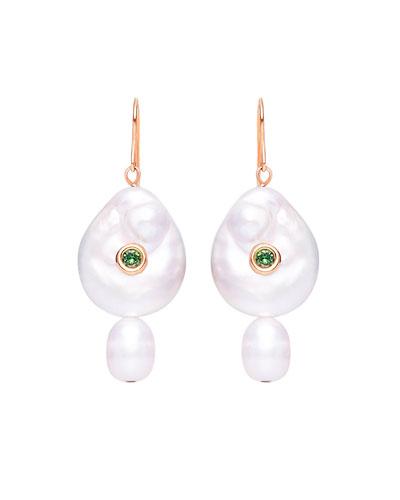 BLUE on earrings Double square clip Oscar de la Renta style.