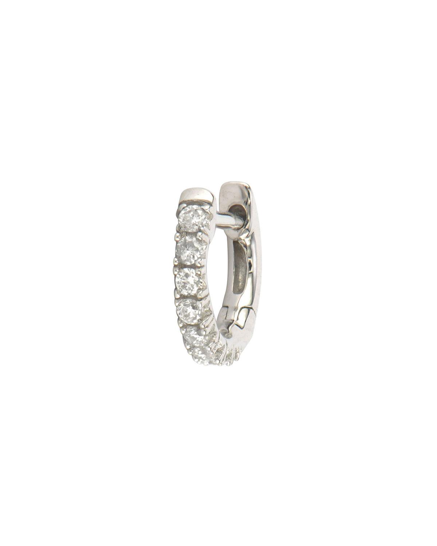 18k White Gold Petite Pave Diamond Hoop Earring